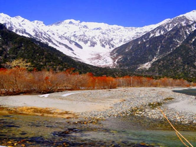 真っ赤に色ついた化粧柳残雪の穂高連峰