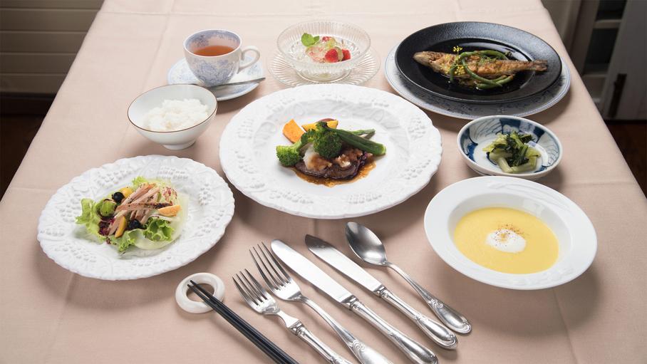 *【ご夕食一例】山梨八ヶ岳の「地産地消」「旬産旬味」をモットーに心をこめたお料理をご用意いたします。