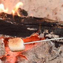 *【暖炉での焼きマシュマロ】