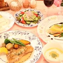 ポークとお魚がメインのコース料理