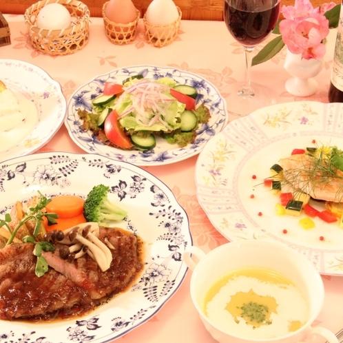 ビーフとお魚がメインのコース料理