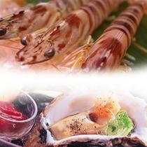楽天プラン写真 車海老と岩牡蠣のコラボ