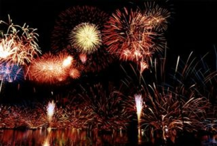 標高600mの湖上に広がる花火をご覧下さい。野尻湖花火大会