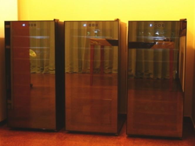 在庫ワインはワインセラーで保管・お出しするワインは冷蔵庫で冷やしたものです