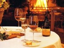 ワインと暖炉