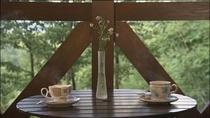 テラスでコーヒータイム