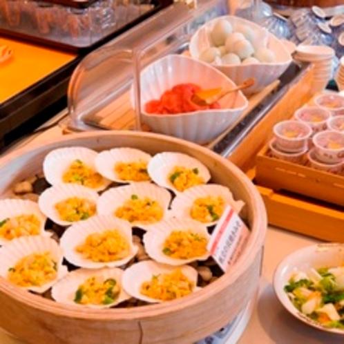 【朝食】ホタテの貝焼き味噌