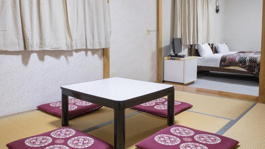 *和洋室/グループにおすすめ!ベッドと畳で5名様までお泊りいただけます。