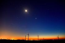 風車と夕焼け