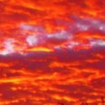 秋の夕焼け1:蔵王高原の空気が澄んでいるからこそ空一面に綺麗なオレンジ色が彩え渡っています♪