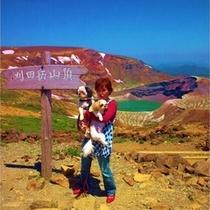 【お釜】山上カルデラ湖:(蔵王連峰の五色岳1674m)宮城県の2大観光名所の一つです。