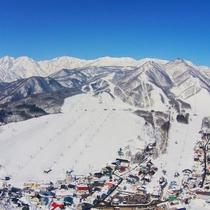 【栂池スキー場全景】縦横に広い、本州最大のスキー場。当ホテルはゴンドラ駅右隣となります。