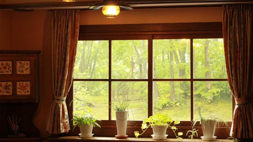 *館内からの眺め/窓の外にはブランコがあり、外で遊んでいる様子をご覧いただけます。