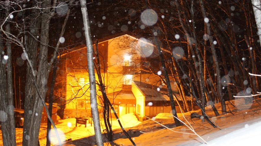 *外観(冬)/雪景色の中、夜にはホテルをライトアップしています。