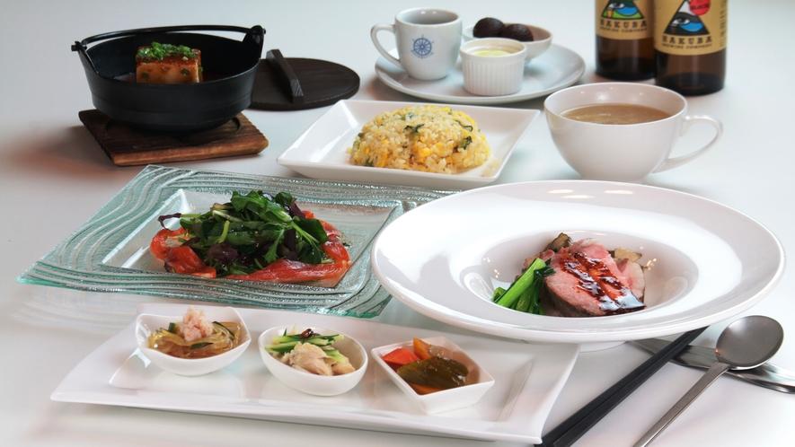 【食事】グレードアップコースの一例。ふかひれスープ、白馬豚のローストポークが絶品。