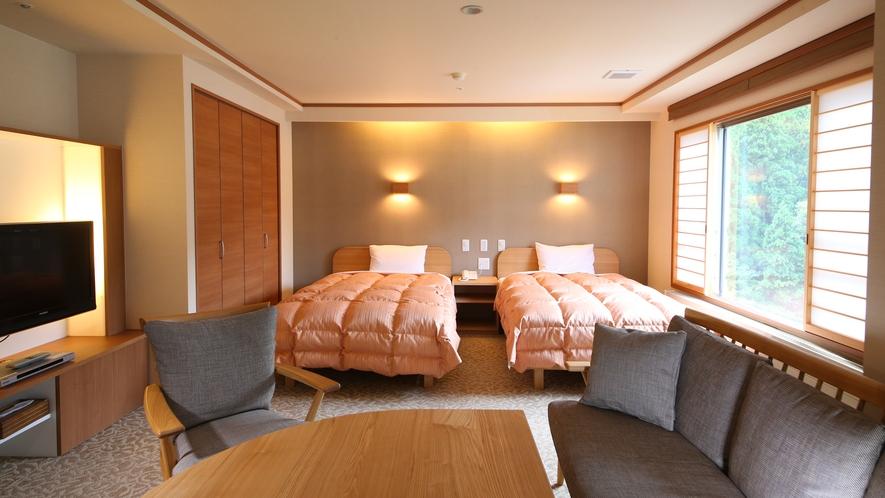 【スーペリアツイン洋室】広々とした作りが特徴のお部屋です