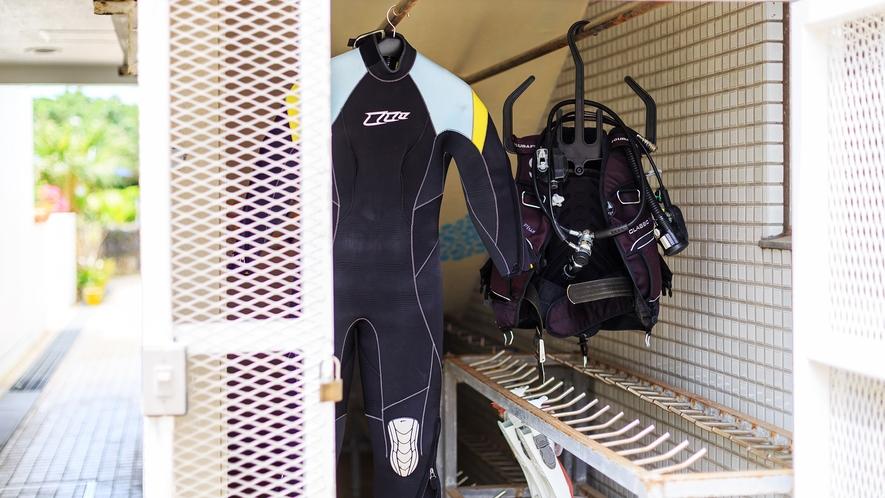 【ダイビング器材洗い場・干場/屋外】ご利用の際はフロントまでお声がけください