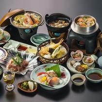 新鮮な海の幸・季節野菜・お肉などボリュームたっぷりな「瀬戸内会席」