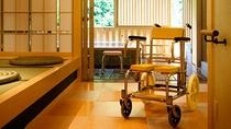 貸切露天風呂では浴用車椅子・シャワーベンチの貸出可能でございます。