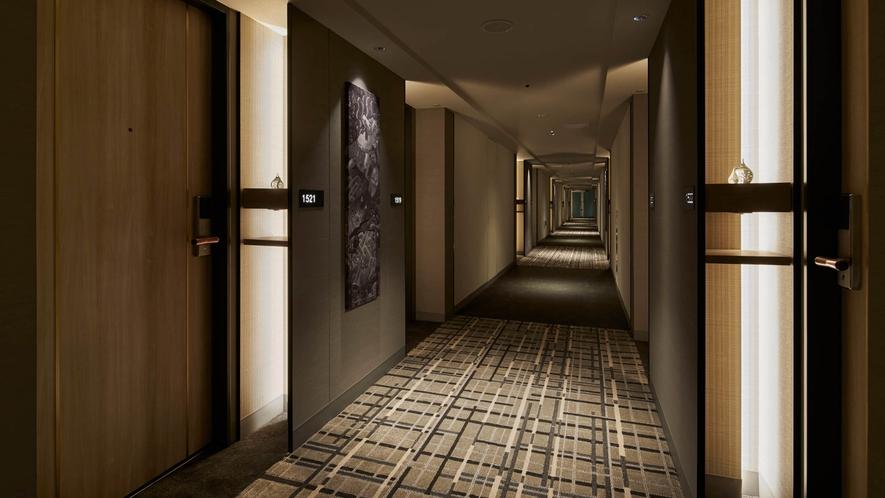 客室フロアの廊下「壁には、九州の伝統的な風景のフォトパネルを装飾」