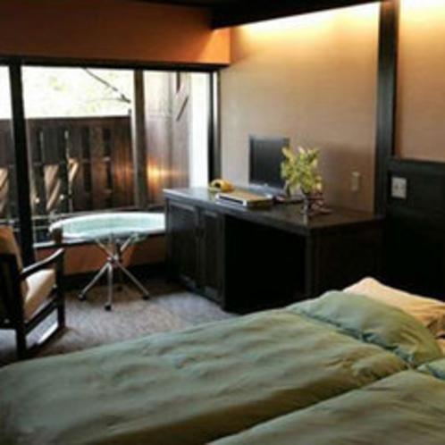 *露天付客室【月あかり】人気の和モダンベッドルーム。ごゆっくりお過ごしください。