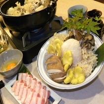 エゴマ豚と豪華茸の塩すき鍋