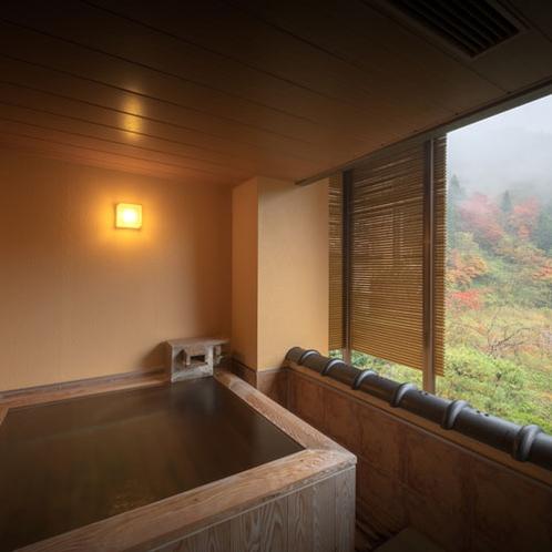 あかしや館付きの客室露天風呂 もちろん源泉かけ流しです。
