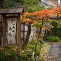当館入り口 川沿いの奥まったところにございます。