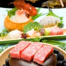 和牛の温石焼きとお造り/ご夕食一例