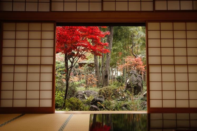 お部屋から庭園を眺める