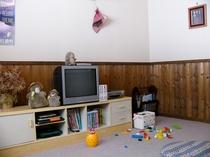 おもちゃやビデオがあるテレビルーム