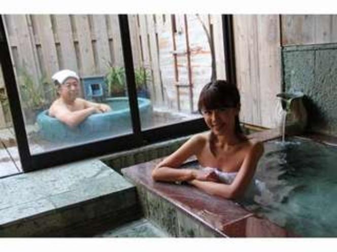 ふたみ家の家族風呂は内風呂と露天風呂交互にお入りいただけます。