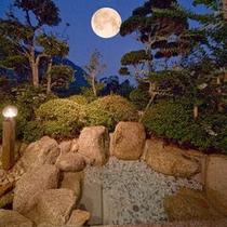 家族風呂の露天風呂から見た夜の景色