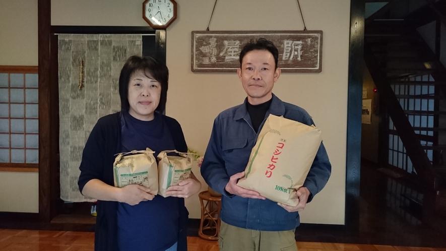 地元契約農家さんと女将です。県認証特別栽培米コシヒカリ