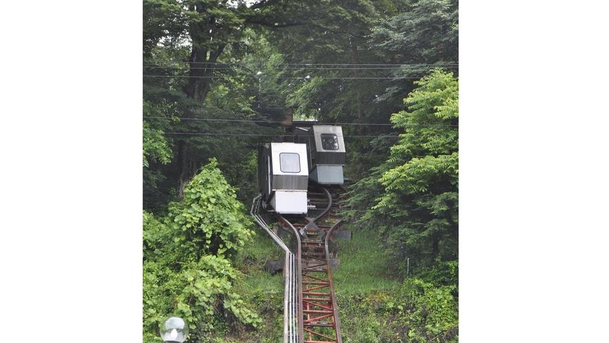 【常盤館名物「登山電車」】動いている時の様子(2機交差時)