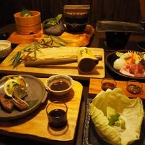 【ご夕食】嬬恋キャベツや上州牛、やまと豚など地元の旬の食材を中心に季節替わりの山里料理
