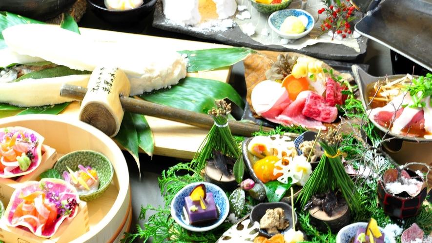 【冬の一例】ご夕食は季節替わりの「里山の懐石」をご用意します