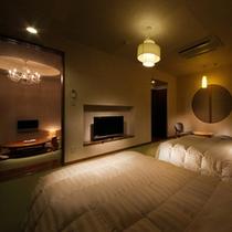 【和洋室】ベットのお部屋の脇には寛ぐのに嬉しい和室も。語らいのひと時をどうぞ(※葉山側のみ)