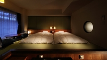 【和風モダン室】カップルやご夫婦に人気の当客室は、風変わりのワンランク上のツインルームを楽しめます。