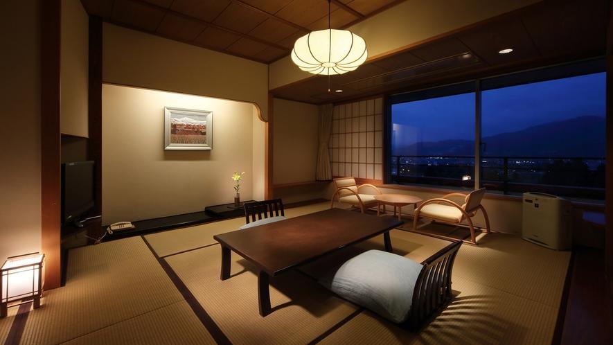 【和室12畳】蔵王側の客室は蔵王連峰と市街の夜景を一望できる人気客室(※蔵王側指定は別料金)