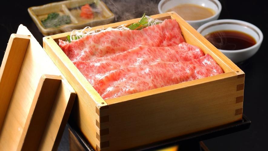 【やまがた味覚御膳】とろっと甘みが広がる山形を代表する特選米沢牛の温泉蒸し