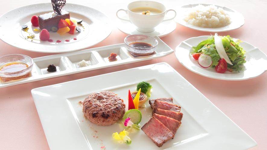 ★ステーキと粗挽きハンバーグセット(イメージ)