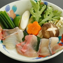 【早春の鍋物】海鮮しゃぶしゃぶ(寒ブリ、鯛、金目鯛)