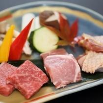 【冬の台物】三種焼き福島の味覚三種陶板焼き(福島牛・エゴマ豚・川俣軍鶏)