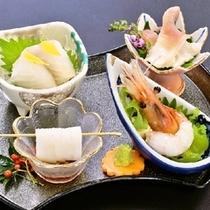 【冬の造里】真鯛ウニ巻 イカ ホッキ貝 ボタン海老
