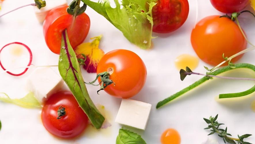 【ご夕食一例】目にも楽しい色鮮やかな野菜をご提供致します。