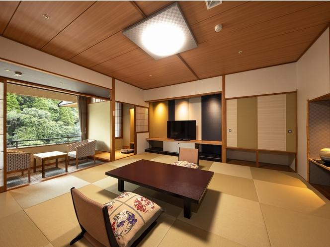 【リニューアル客室】渓流側一般和室。ふかふかの座布団でゆったりできます。