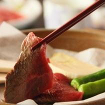 夕食 信州牛の陶板焼き