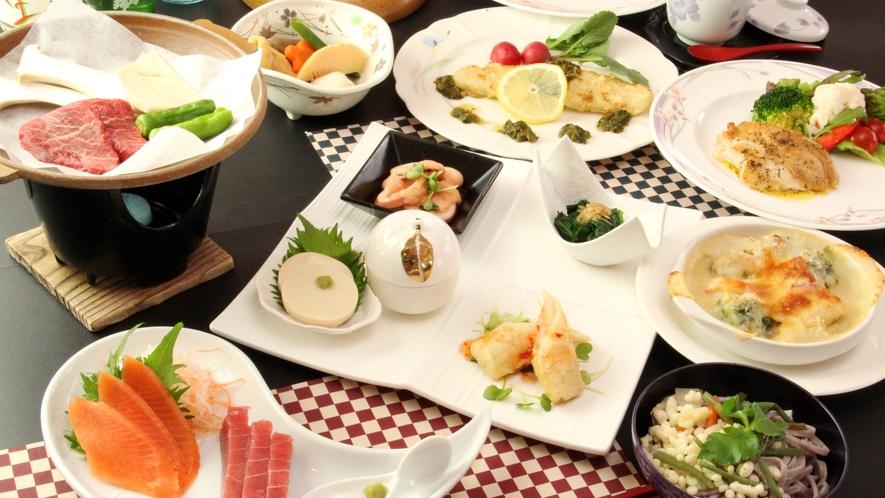 【夕食一例】信州の自然の恵みがたくさん詰まった和洋折衷の手料理。