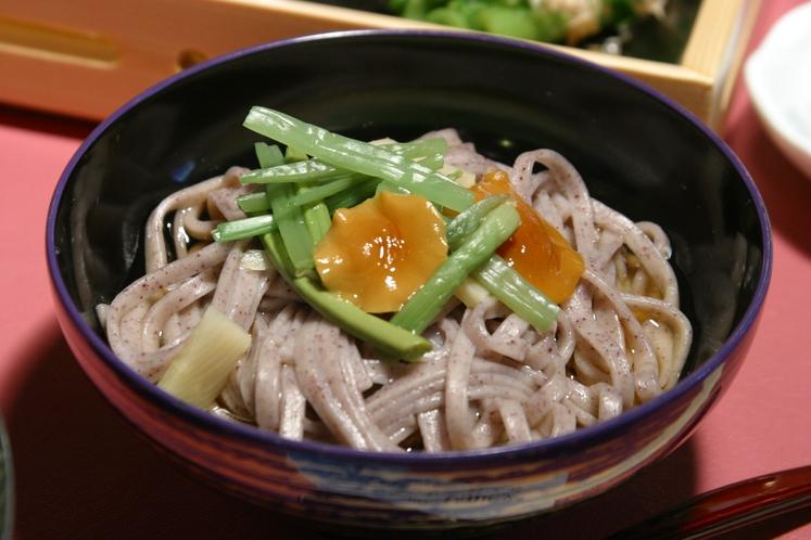 【夕食一例】白馬特産「紫うどん」山菜添え (冷製)